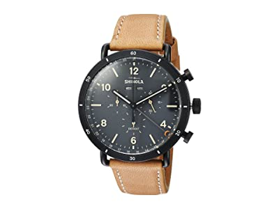 Shinola Detroit The Canfield Sport Chronograph Calendar 45mm 20089891 (Natural Leather Strap/Cool Gray Dial) Watches