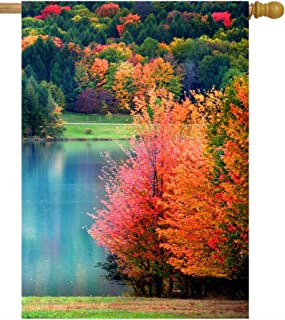 Pickako Scenic Autumn Landscape Colorful Trees Lake River Pond in Forest House Flag 28 x 40 Inch, Double Sided Large Garde...