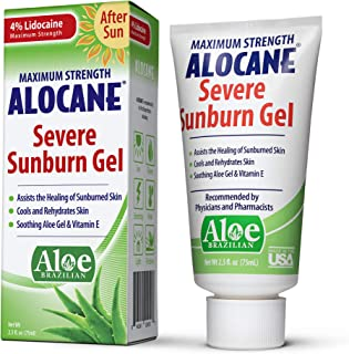 Alocane Severe Sunburn Gel, with Lidocaine, Vitamin E & Brazillian Aloe, Pain, Itch, After Sun Relief to He...