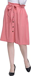 Fbella Women A-line Tie-up Skirt with Button Details