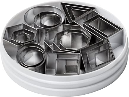 Ateco 4845 Plain Edge Geometric Shapes Cutters in Graduated Sizes, Stainless Steel, 24 Pc Set