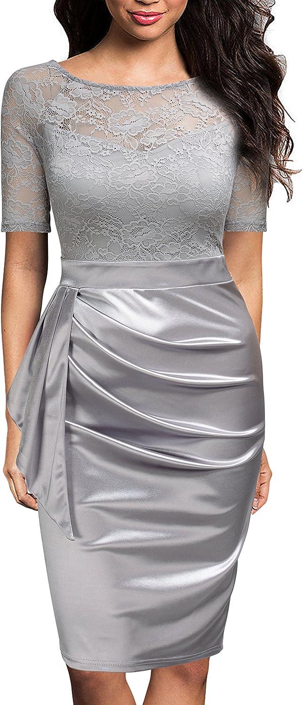 Mmondschein Women's Vintage Ruffles Short Sleeve Business Pencil Cocktail Dress