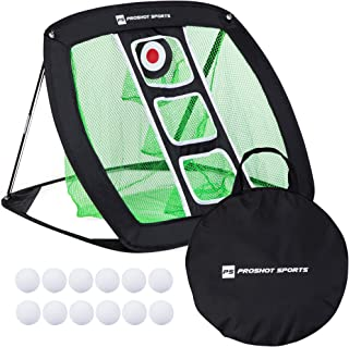 Proshot Sports Pop Up Golf Chipping Net Outdoor Indoor Golfing Target Accessories and Backyard Portable Practice Swing Game with Foam Training Golf Balls