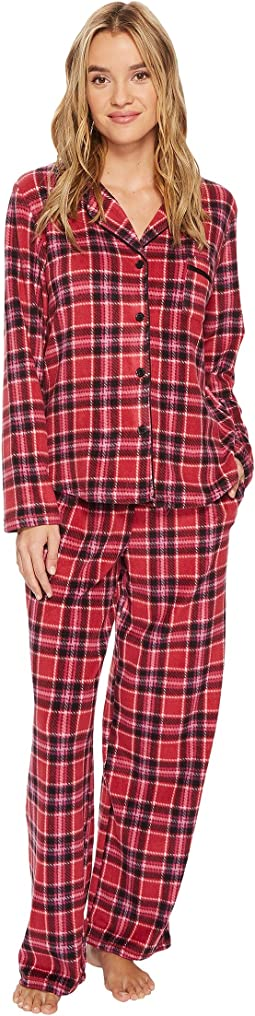 Folded Stretch Fleece Notch Collar PJ Set