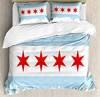 Ambesonne Chicago Skyline Duvet Cover Set, City of Chicago Flag with High Rise Buildings Scenery National, Decorative 3 Piece Bedding Set with 2 Pillow Shams, Queen Size, Red White