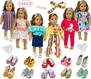 Ecore Fun 18 Inch Doll Clothes Outfits Lot 8 = 6 Daily Clothes + 2 Random Shoes for American 18 Inch Girl Doll Accessories