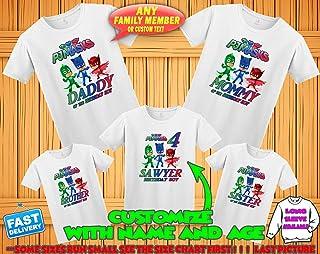 PJ Masks Birthday Shirt, PJ Masks Custom Shirt, Personalized PJ Masks Shirt, Pj Masks family shirts, Pj Masks Birthday t-shirt for girls and boys