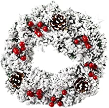 geiyOH 18 Inch Christmas Wreath for Front Door, with Berries and Pine Cones, Holiday Decorations Wreath for Christmas Indo...