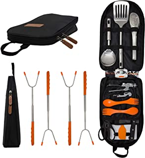 11 Piece Camp Kitchen Cooking Utensil Set Travel Organizer Grill Accessories Portable Compact Gear for Backpacking BBQ Camping Hiking Travel Cookware Kit Water Resistant Case Portable Outdoor Utensil Kitchen Set-9 Piece Cookware Kit, Carrying Organizer Bag-For Camping, Hiking, RV, Travel, BBQ, Grilling-Stainless Steel Accessories- Fork, Spoon, Knife & More-Indoor/ Outdoor Camp Kitchen Cooking Utensil Set Travel Organizer Grill Accessories Portable Compact Gear for Backpacking BBQ Camping Hiking Travel Cookware Kit Water Resistant Case GATLING, CO. 21-Piece Camping Cookware Set - Portable Camping Kitchen Utensils