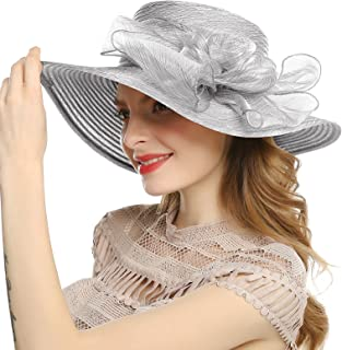 Welrog Women's Derby Wedding Diskette Hat - Tea Party Hat Summer Large Flower Sun Hats with Wide Edge