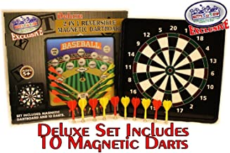 Matty's Toy Stop Deluxe 2-in-1 Reversible Magnetic Dartboard (Dart Board) with 10..