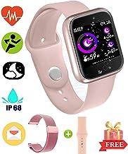 EarnCore Pulsera Inteligente a Prueba de Agua con Bluetooth - Rastreador de Ejercicios para Hombres y Mujeres para Android iOS Teléfonos Inteligentes Recordatorio de Llamadas y Mensajes