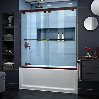 DreamLine Encore 56-60 in. W x 58 in. H Frameless Semi-Frameless Bypass Tub Door in Oil Rubbed Bronze, SHDR-1660580-06