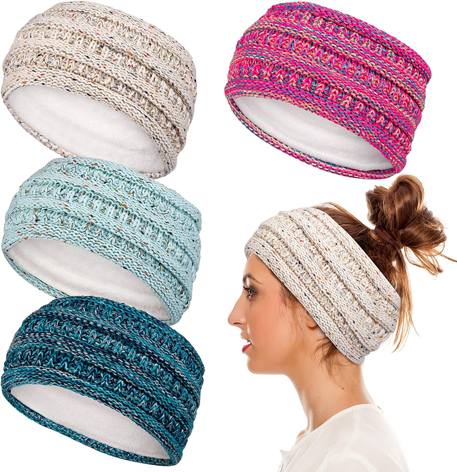 Whaline Ear Warmer Headband Pink Blue Confetti Head Wrap Winter Fleece Lined Thick Crochet Turban Stretchy Cable Knitted Headband for Men Women Girl Outdoor Sports Skiing Camping Hiking, 4 Pack