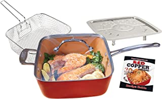 Red Copper Double-Coated Square Pan 5 Piece Set by BulbHead, 10-Inch Pan, Glass Lid, Fry Basket, More