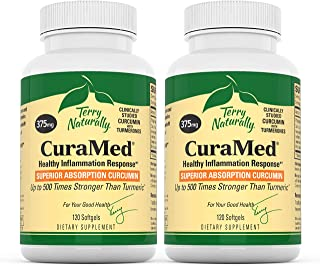 Terry Naturally CuraMed 375 mg (2 Pack) - 120 Softgels - Superior Absorption BCM-95 Curcumin Supplement, Promotes Healthy Inflammation Response - Non-GMO, Gluten-Free, Halal - 120 Servings