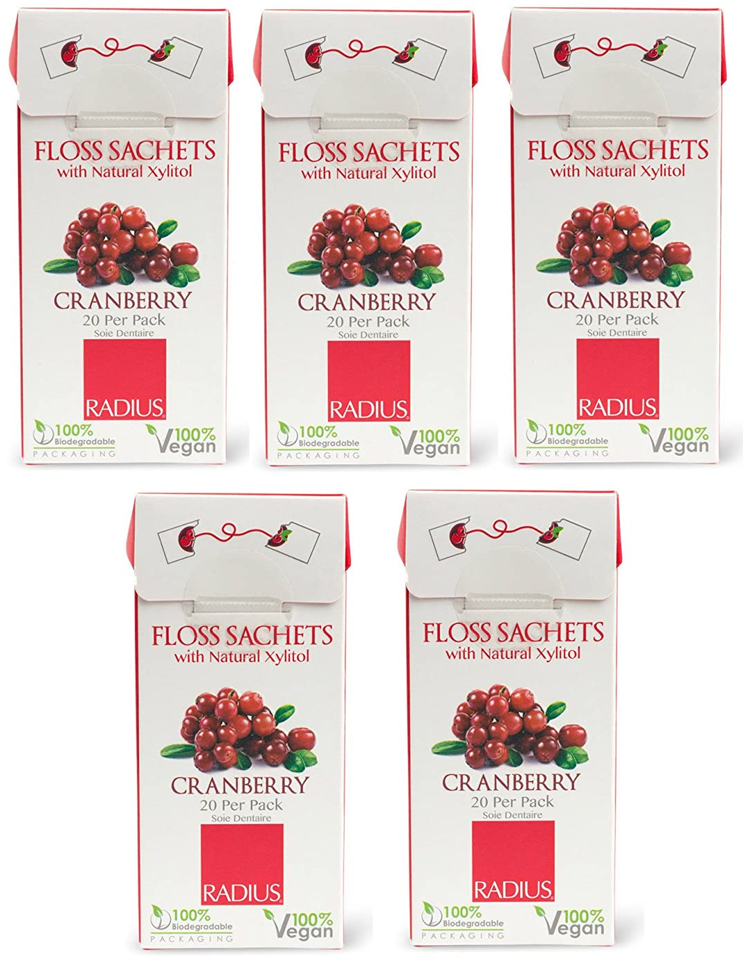 Radius Vegan Xylitol Floss Sachets Cranberry (Pack of 5), 20 sachets per pack