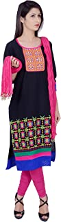 Rama Women's Cotton Suit Set of Black Embroidered Kurta and Pink Legging and Dupatta