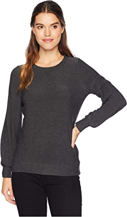 Cozy Knit Bishop Sleeve Wide Neck Pullover w/ Strappings