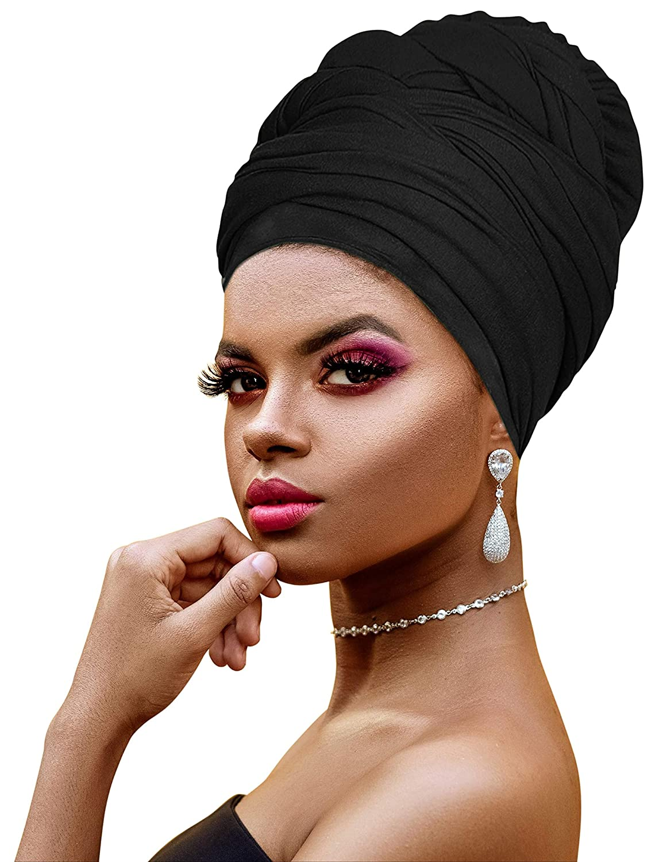 Ankara African Print Soft Headwraps Headband Long Hair Head Wrap Scarf Turban Tie Jersey Knit African head wraps (1. Black)