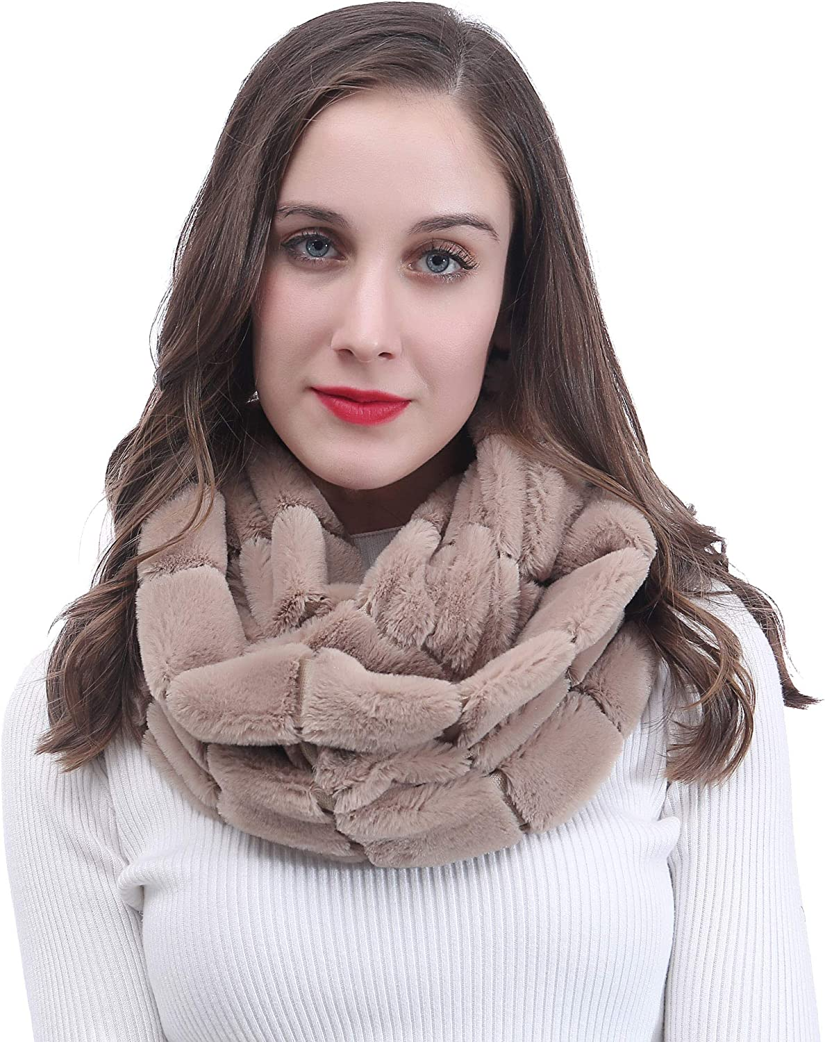 Lina & Lily Faux Fur Winter Double Loop Infinity Scarf
