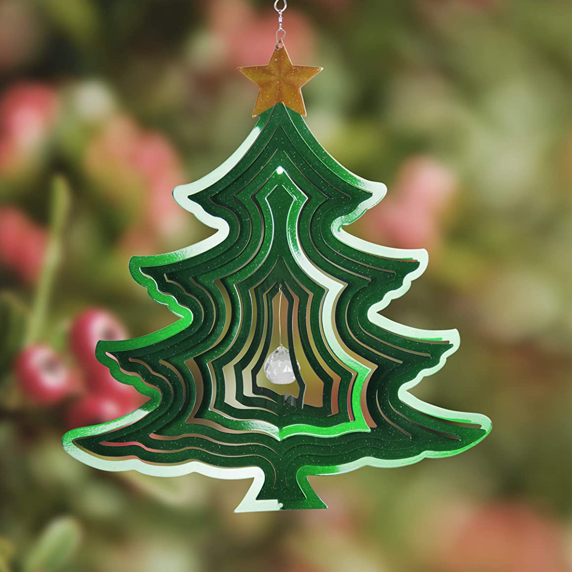 "Exhart Christmas Tree Spinner – Christmas Tree Wind Spinner, Metal Wind Spinner, Kinetic Art Holiday Décor Garden Wind Spinners (15"" x 8"" x 18.8"")"