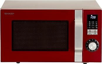 Sharp R-344RD Mikrowelle / 900 W / 25 L/LED-Display/Zeitschaltuhr / 12 Automatikprogramme/Rot Encimera Solo - Microondas (Encimera, Solo microondas, 25 L, 900 W, Botones, Giratorio, Rojo)