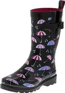 Ladies Two Tone Mid Calf Rubber Rain Boot