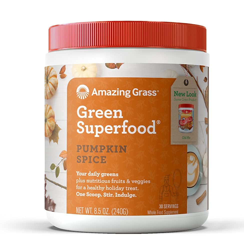 Amazing Grass Green Superfood: Organic Wheat Grass and 7 Super Greens Powder, 2 servings of Fruits & Veggies per scoop, Pumpkin Spice Flavor, 30 Servings