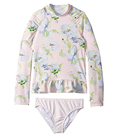 Janie and Jack Floral Rashguard Set (Toddler/Little Kids/Big Kids) (Vintage Floral Stripe) Girl