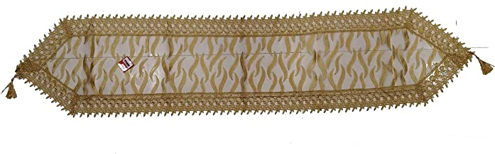 ANS Big Dinning/Center Table Runner 15x68 inches appx Golden Heavy Quality Fabric Perfect Product Tissue Fabric