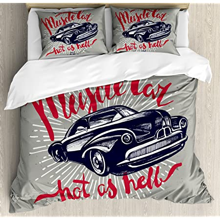 Queen Size Decorative Quilted 3 Piece Coverlet Set with 2 Pillow Shams Blue Grey Ambesonne Teen Room Bedspread American Auto Racing Theme Car Sports Competition Speed Winner Boys Kids Graphic