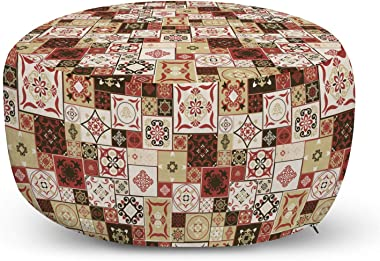 Ambesonne Moroccan Ottoman Pouf, Tile Pattern with Squares of Various Sizes Eastern Inspired Oriental, Decorative Soft Foot Rest with Removable Cover Living Room and Bedroom, Cream Dark Coral Brown