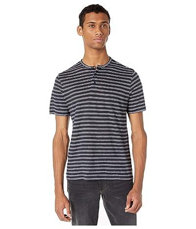 Vince Short Sleeve Stripe Henley Tee (Coastal/Optic White) Men