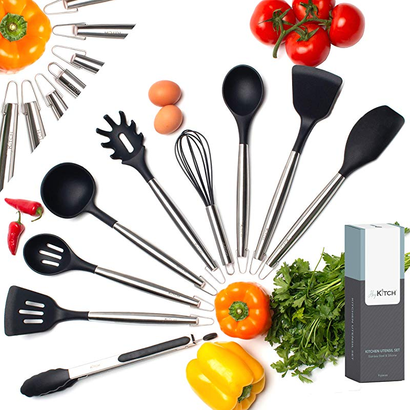 HeyKITCH Kitchen Utensil Set 9 Piece Black Utensil Set Stainless Steel Silicone Utensil Set Non Scratch Heat Resistant Spatulas Cooking Spoons Whisk Tongs Kitchen Tools And Gadgets