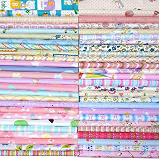 Quilting Fabric, Misscrafts 50pcs 20 x 20cm Cotton Fabric Squares Bundle Patchwork Pre-Cut Quilt Squares for DIY Sewing Scrapbooking Quilting Dot Pattern