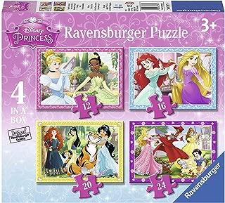 Disney Princess 4 in a Box Puzzles Featuring Cinderella Aurora Belle Tiana Jasmine Mulan Ariel Merida Rapunzel and Snow White