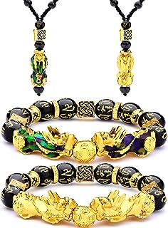4 Piezas Conjunto de Collar Pulsera de Feng Shui Pi Xiu Pi Yao, Collares Ajustables de Suerte Riqueza Feng Shui Nafu Pulse...