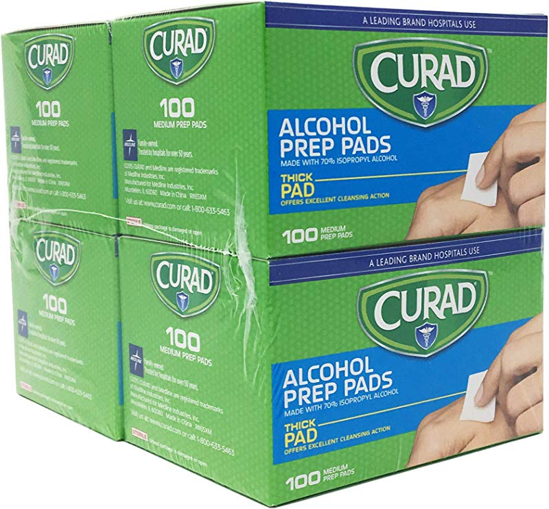 Curad Alcohol Prep Pads Thick Alcohol Swabs Pack Of 400 CUR45585RB