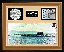 Navy Emporium USS Ethan Allen SSBN 608 Framed Navy Ship Display Brown