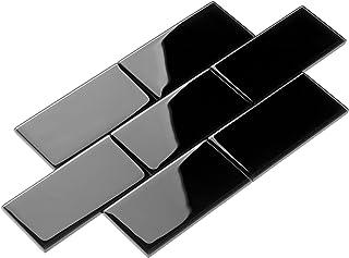 Giorbello Glass Subway Backsplash Tile, 3 x 6, Black, 2 Sq Ft