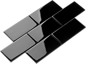 Giorbello G5913-44 Glass Subway Backsplash Tile, 3 x 6, Black