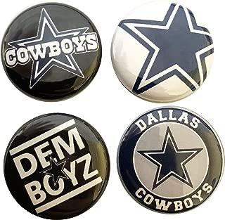 Innova Dallas Football Cowboys Button Pack - 4 PCS Set - 1 INCH PIN Back - Elliott Bryant Witten Prescott
