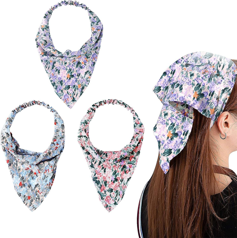 LUTER 3 Piezas Floras Triangular Pelo Pañuelo Bandas para Cabello Vintage Impresión Elástica Flores Gasa Pañuelos Pañuelos Pastoral Estilo Accesorios para Cabello para Niñas Mujeres