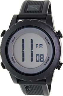 Men's Splash PU911071001 Black Rubber Quartz Watch with Digital Dial