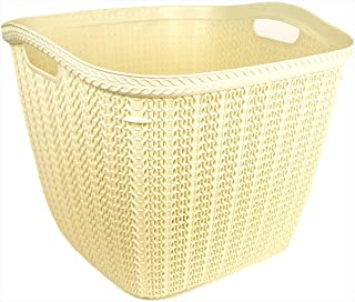 Hobby Life Square Laundry Basket Knit Design 42 Litre (Ivory)
