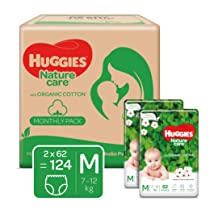 Huggies Nature Care Pants, Monthly Pack, Medium (M) Size Baby Diaper Pants, 124 Count, Nature's gentle protection with organic cotton