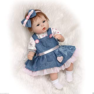 Pompon 22 Inch Soft Silicone Vinyl Dolls Newborn Baby Girl Dolls Reborn Baby Doll Realistic Baby Doll Real Life Baby Doll Silicone Baby Doll Denim Skirt Baby Dolls Handmade Real Life Baby Dolls