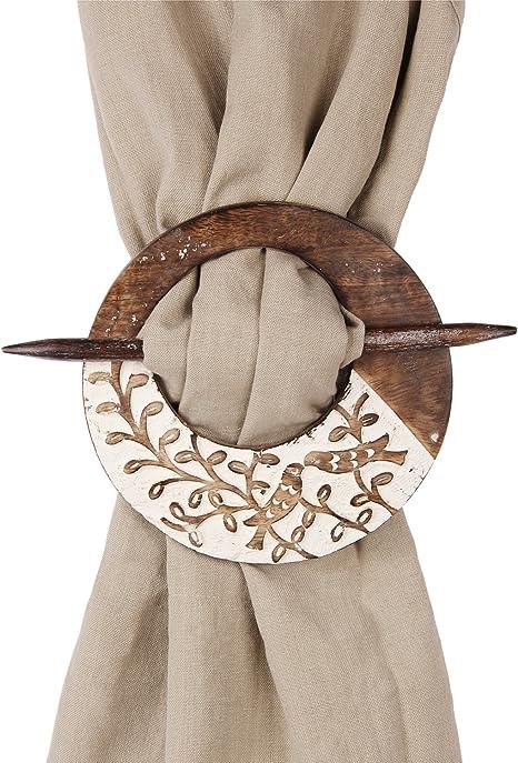 Wooden Curtain Tie backs Drapery Holdbacks Rustic Set of 2 Home Decorative