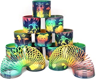 Kicko Plastic Animal Print Spring - 12 Pack - 3 Inch Zoo Animals Design Coil Springs Springs for Easter Basket Treats, Toy...